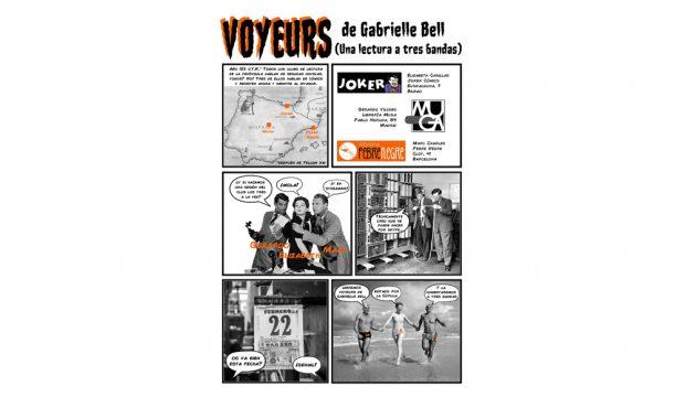 Cartell sessió de còmic a tres bandes amb Voyeurs de Gabrielle Bell